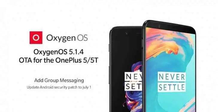 OxygenOS 5.1.4 para OnePlus 5 / 5T traz novos recursos e patch de segurança de julho 1