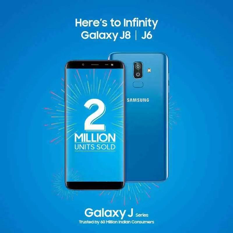 Vendas do Galaxy J6 e Galaxy J8 atingem a marca de 2 milhões na Índia