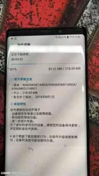 Samsung Galaxy Note 9 Já com actualização de segurança de Agosto 1