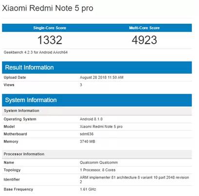 Redmi Note 5 Pro Geekbench