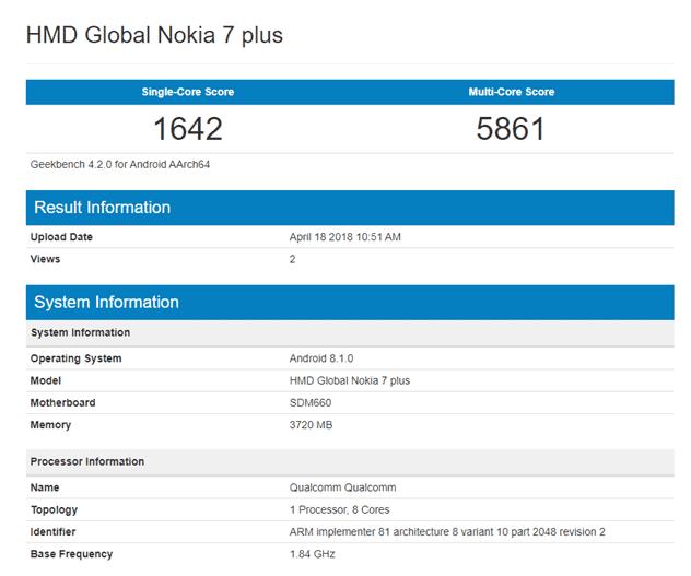 Geekbench do Nokia 7 Plus