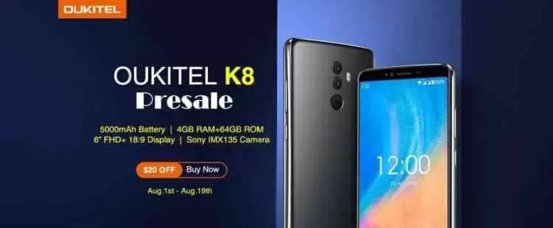 OUKITEL K8 com câmara Sony IMX135 terá a sua primeira venda flash com 20$ de desconto 1