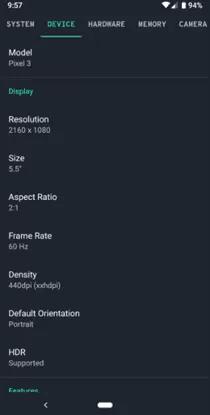 Especificações do Pixel 3