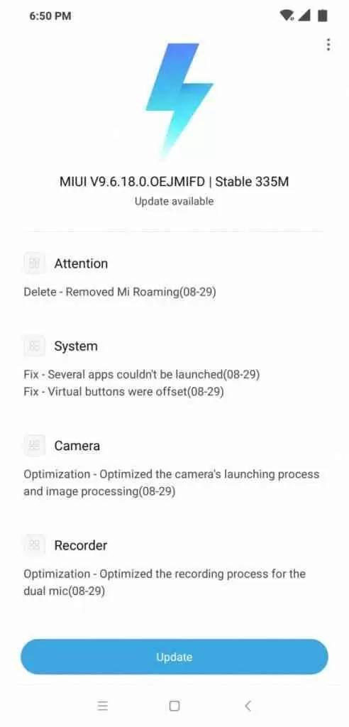 Xiaomi poco f1 update