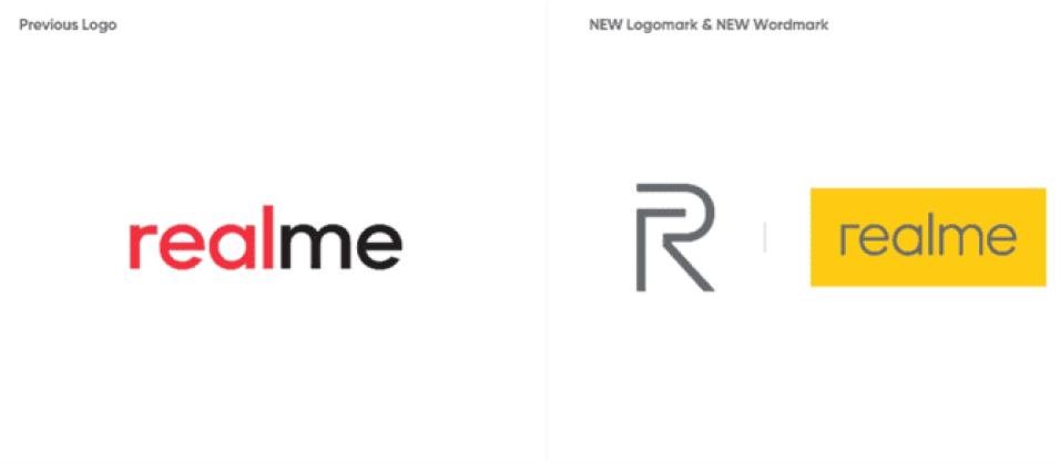 Realme velho logotipo vs novo logotipo