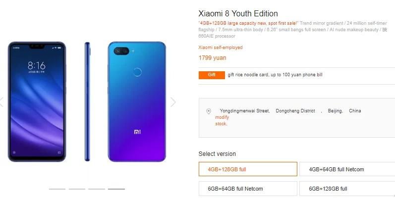 XIaomi MI 8 LIte 4 GB de RAM, 128 GB de armazenamento mi.com informação