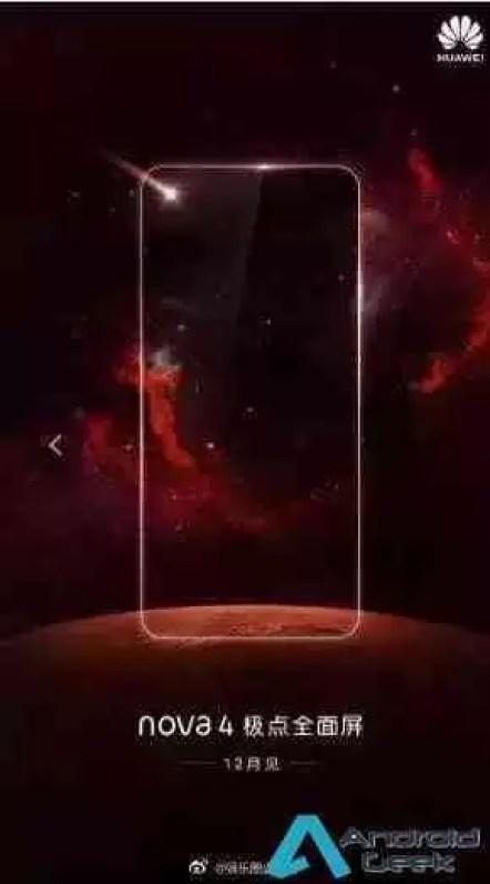 Cartaz Promocional do Huawei Nova 4 revela câmara no ecrã 1