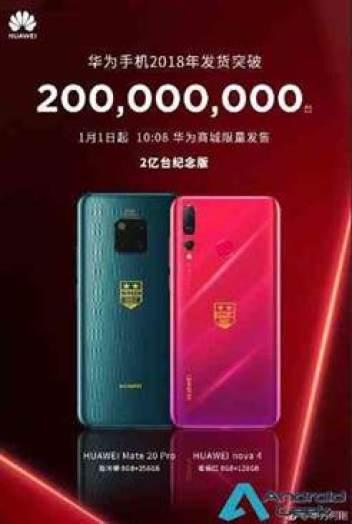 Huawei lança edições especiais Mate 20 e Nova 4 para celebrar o 200 milhões de smartphones em 2018 2