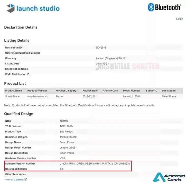 Lenovo A5s com MediaTek Helio A22 recebe certificação de Bluetooth 2