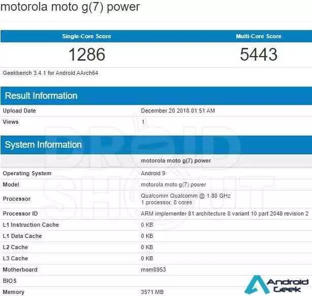 Moto G7 Power com SD 625 descoberto no Geekbench 3