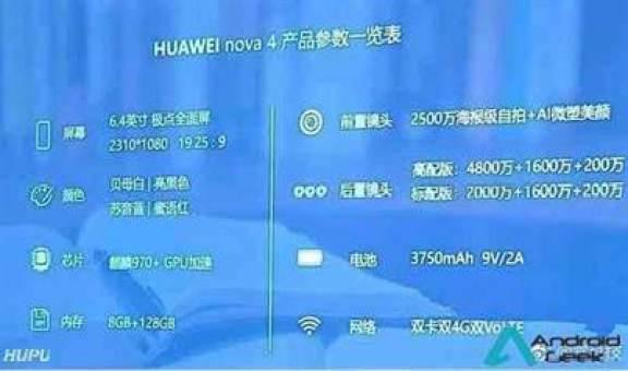 Huawei Nova 4 vê as suas especificações completas reveladas; 6,4 polegadas, Kirin 970, 8 GB de RAM e câmara de 48MP tripla 1