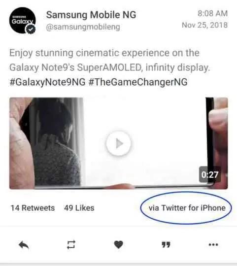 Conta oficial da Samsung no Twitter apanhada a twittar de um iPhone. Outra vez 1