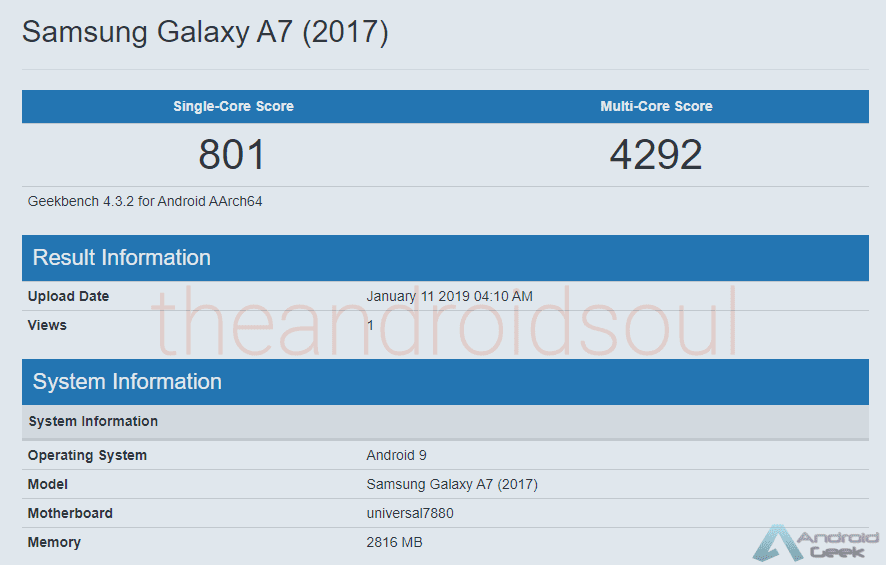 Samsung Galaxy A7 2017 visto no Geekbench com Android 9 Pie 2