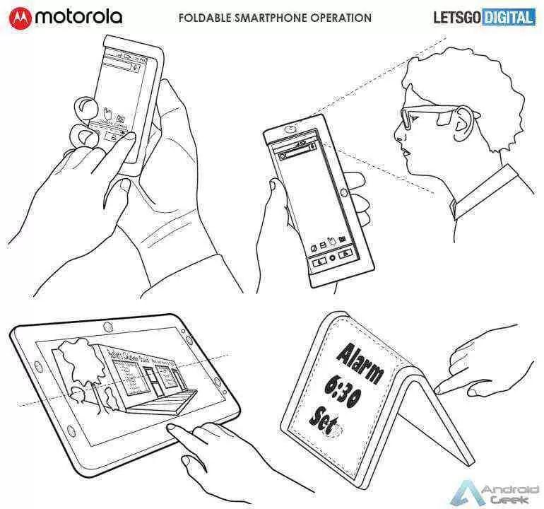 Smartphone dobrável da Motorola aparece em patente 4