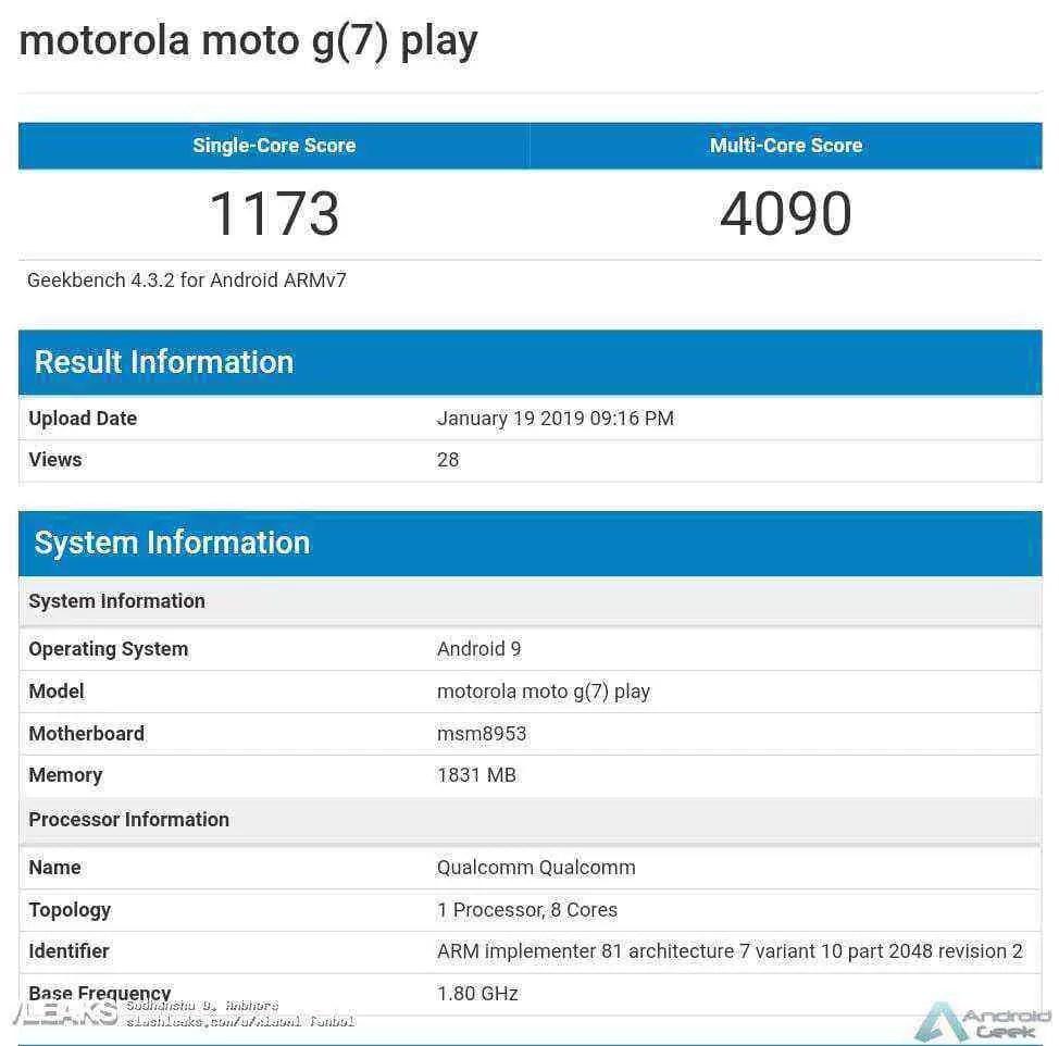 Moto G7 Play em Benchmark com velhinho Snapdragon 625 3