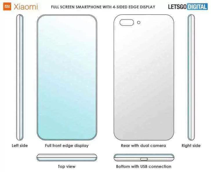 Xiaomi patenteia um ecrã de smartphone com 4 margens curvas 1