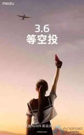 cartaz do lançamento do Note 9 do meizu