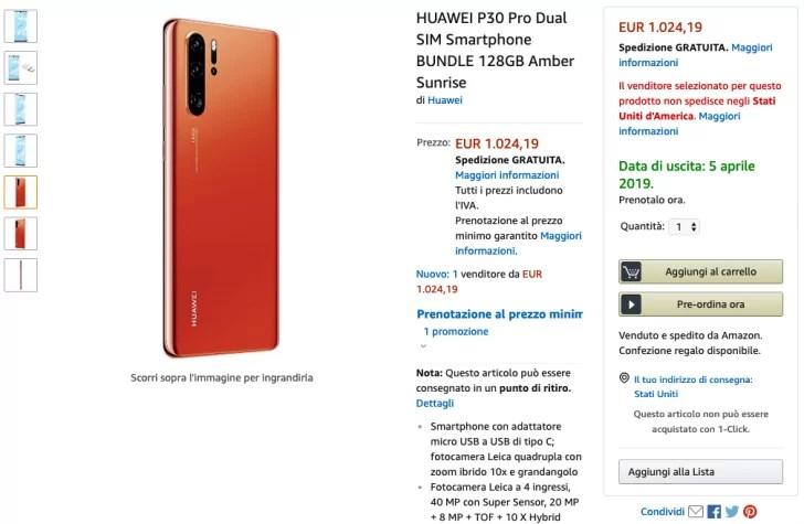 Huawei P30 Pro aparece na Amazon Itália, e confirma especificações como zoom híbrido de 10x 1