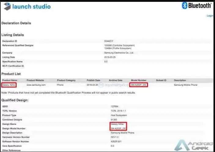 Samsung Galaxy A20e certificado pela Bluetooth SIG e pela Wi-Fi Alliance 2