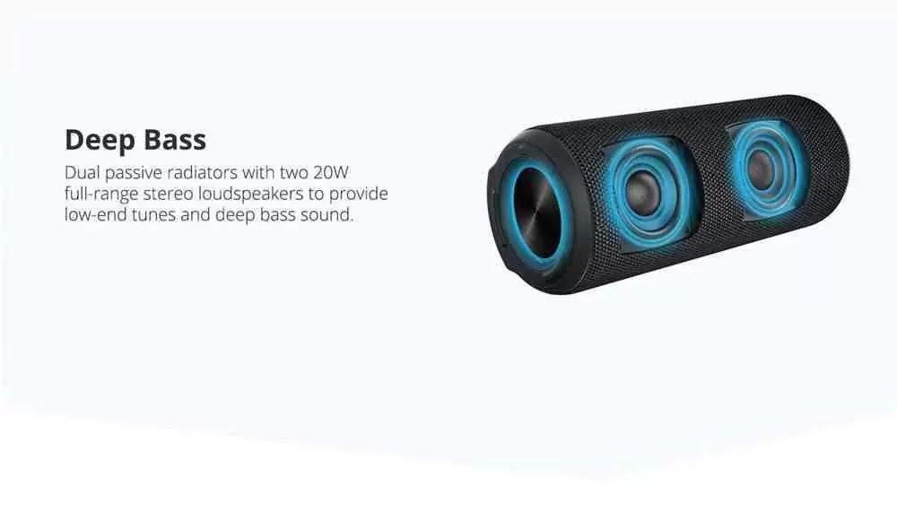 Tronsmart Element T6 Plus SoundPulseâ ¢ ¢ Altifalante Bluetooth Portátil com Saída Máxima de 40W Profunda IPX6 Impermeável - Preto