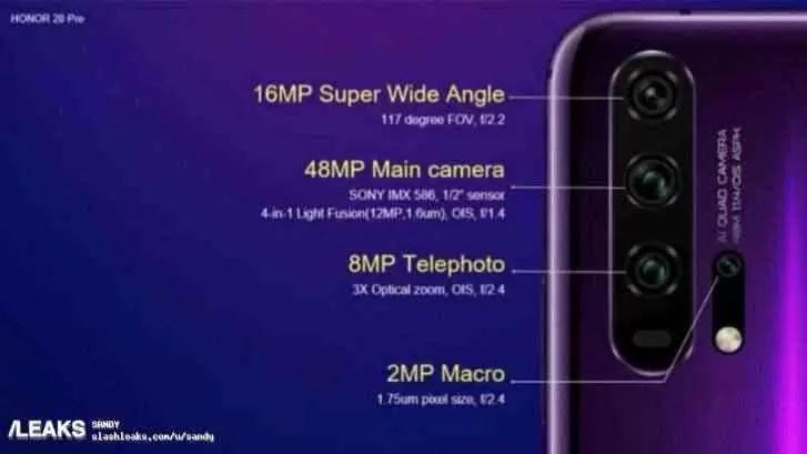 Especificações da câmara do Honor 20 Pro reveladas em detalhe, e mais 1