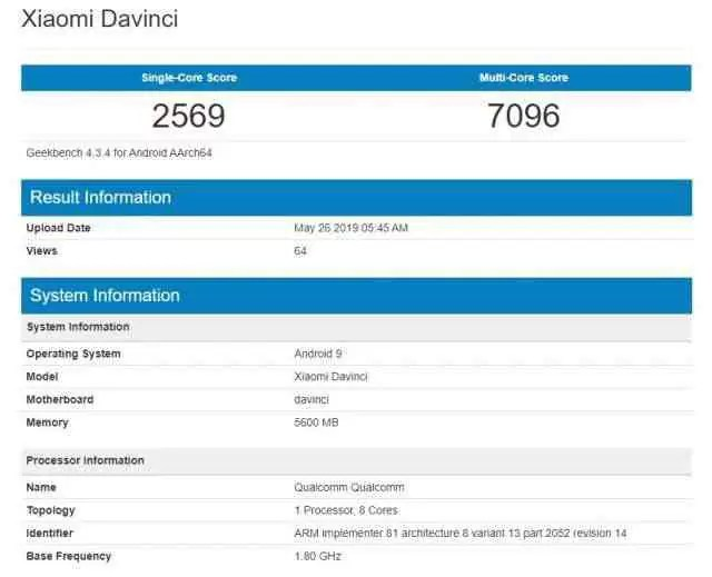 Redmi K20 no Geekbench