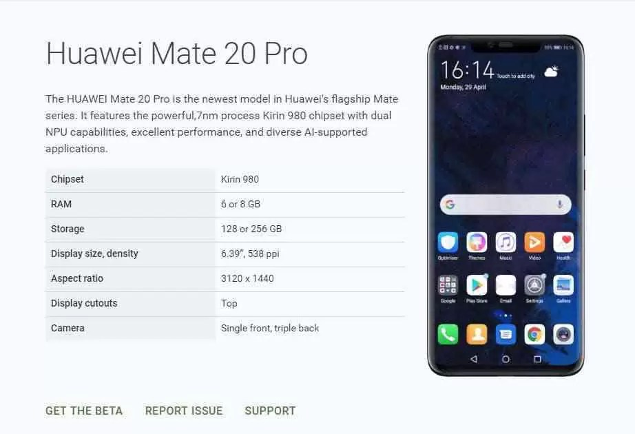 Mate 20 Commatable Android Q Pro