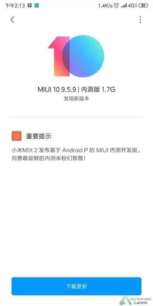 Xiaomi Mi MIX 2 recebe atualização MIUI com base no Android P 2