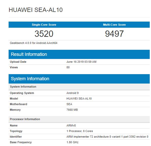Huawei Nova 5 Geekbench