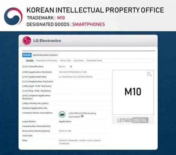 LG registra nome M10 para uma nova linha, V60 e V70 também