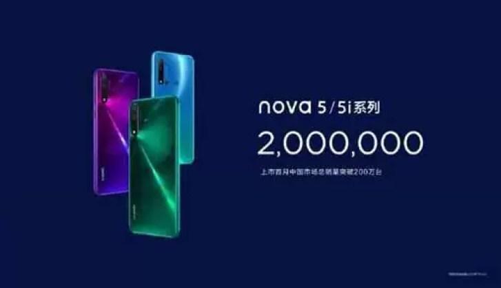 Huawei vende 2 milhões de novas 5 smartphones em um mês