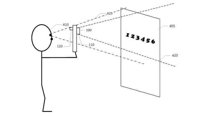 Uma imagem do registro de patente de um usuário com deficiência visual visualizando uma cena por meio de um dispositivo móvel