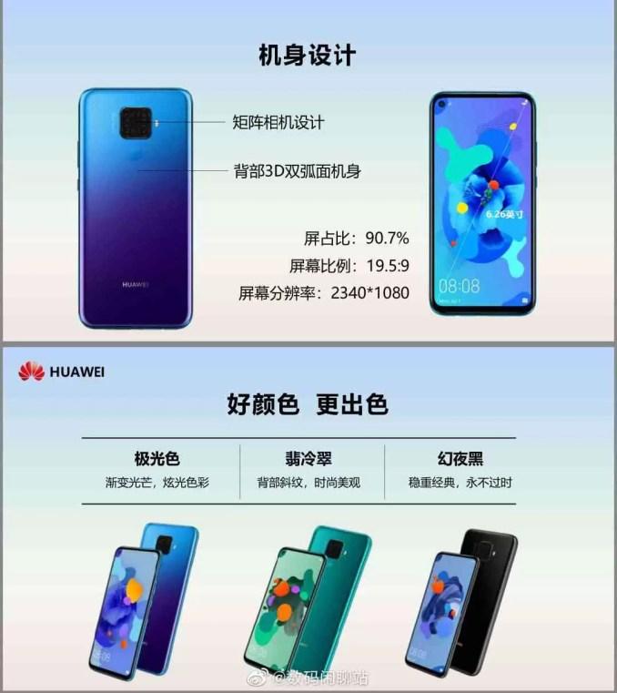 Variantes de cor Huawei Nova 5i Pro