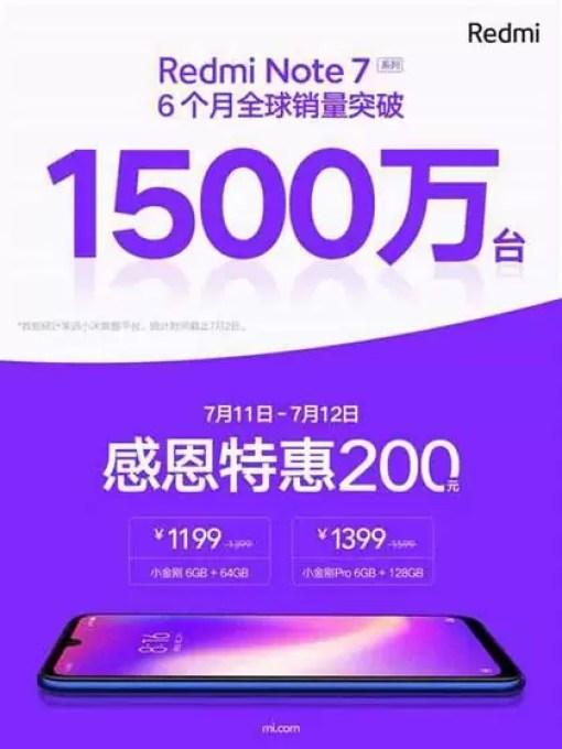 Redmi Note 7 séries 15 milhões 6 meses