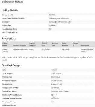 Certificação Bluetooth Galaxy A90