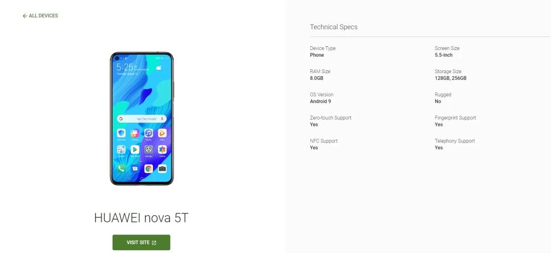Huawei Nova 5T Android Enterprise