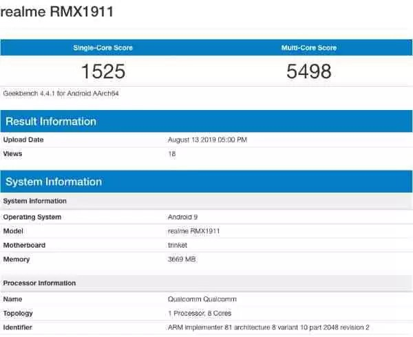 A informação do Geekbench do Realme 5 revela Snapdragon 665 SoC e 4 GB de RAM 1