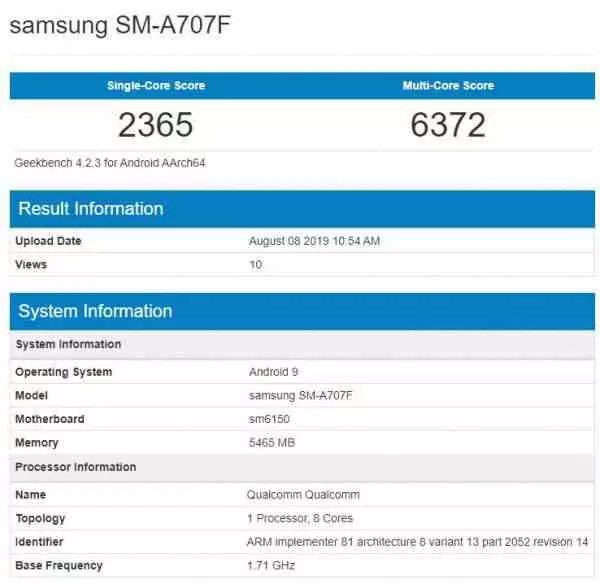 Samsung Galaxy A70s SM-A707FGeekbench