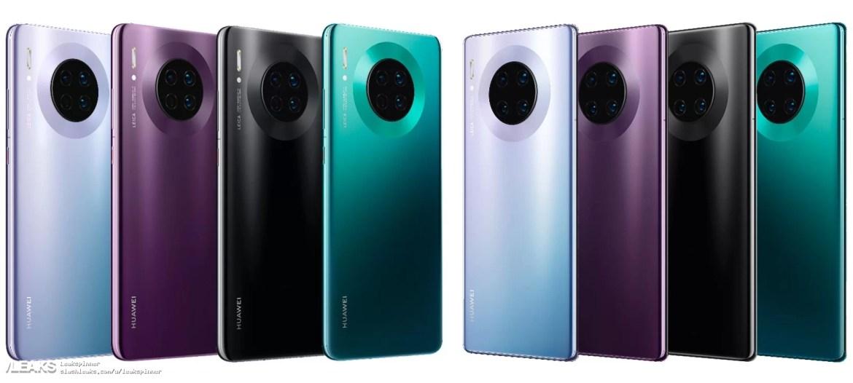 img opções de cores do Huawei Mate 30 Series vazaram