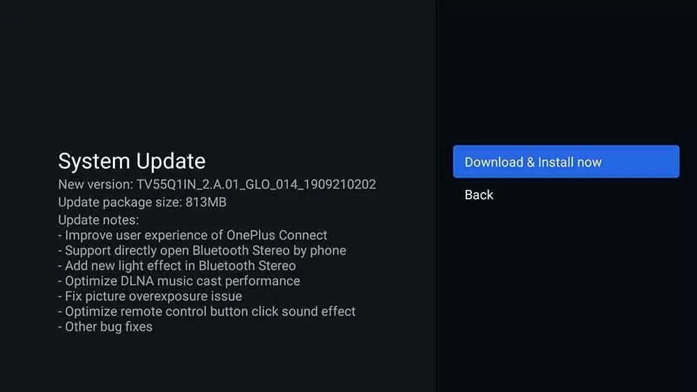 Registro de alterações da atualização do OnePlus TV