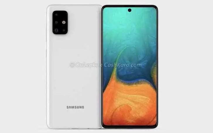 O Galaxy A71 aparece no primeiro conjunto de renderizações, completo com câmera quádrupla em forma de L e tela Infinity-O AMOLED