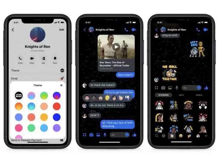 Facebook Messenger adiciona novo tema escuro de Guerra nas Estrelas
