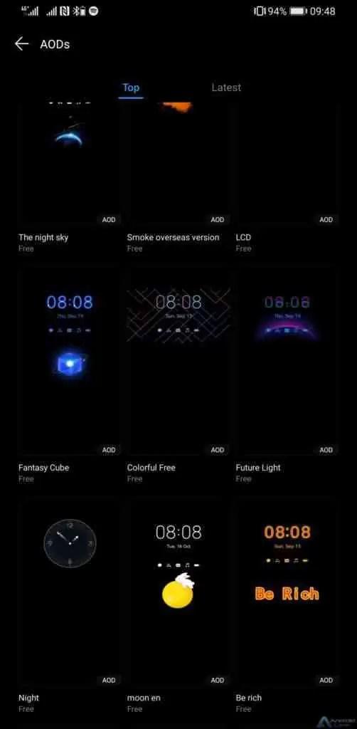 8 telefones Huawei serão compatíveis com funções coloridas de AOD 1