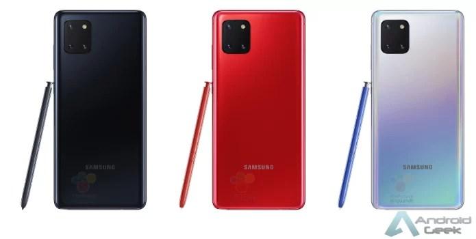 Galaxy Note10 Lite seduz em imagens construídas digitalmente nas cores Aura Black, Aura Red e Aura Glowpress 2