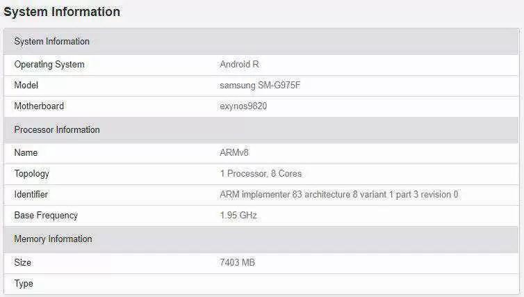 Samsung Galaxy S10 + a correr Android 11 descoberto no GeekBench 1