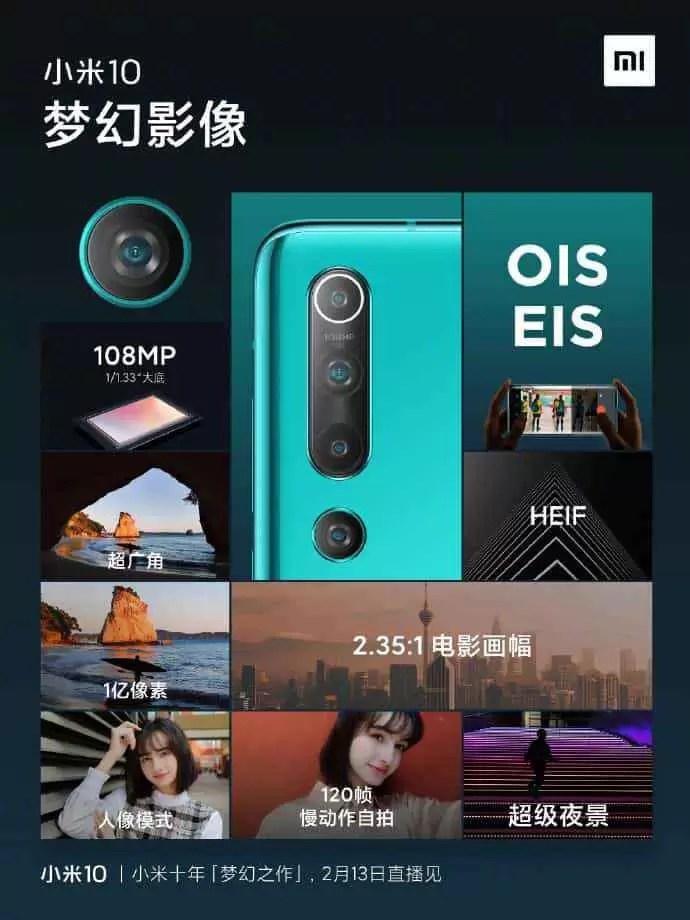Xiaomi Mi 10 confirma câmara de 108MP com OIS, zoom óptico híbrido 10x e zoom digital 50x 1