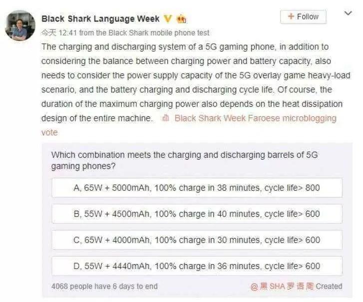 Black Shark 3 5G vem com uma bateria de 5.000mAh que carrega via 65W 1