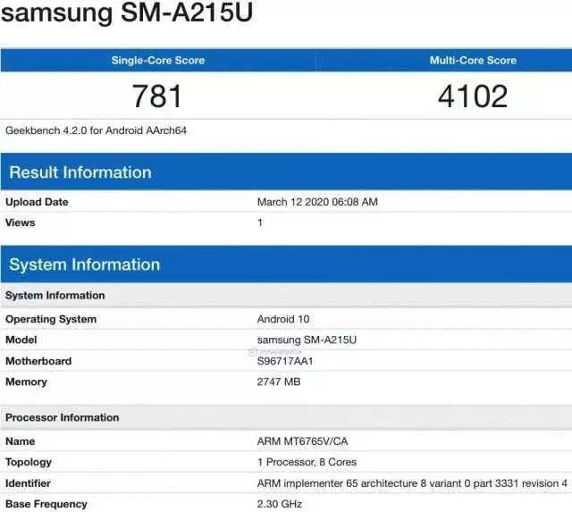Lista do Samsung Galaxy A21 Geekbench