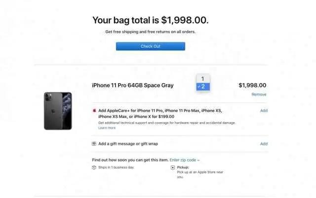 Limite de 2 unidades na página da Apple nos EUA