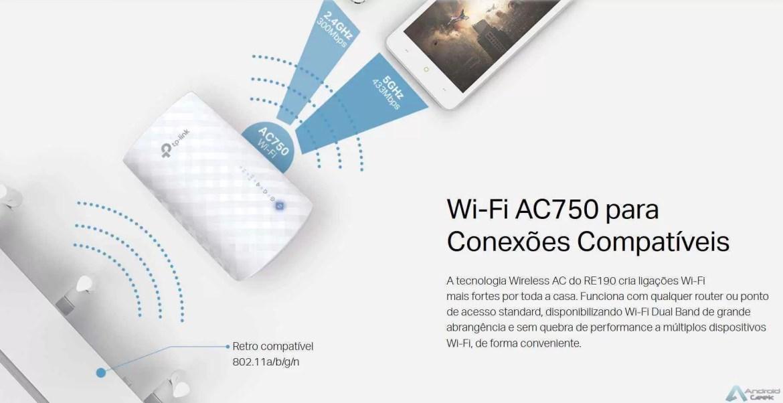 Extensor de sinal WI-FI AC750 Dual Band RE190 da TP-Link 12